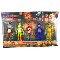 5Pcs/set 5.5 Inch  At  Action Figure Toys Foxy Gold Freddy Chica Freddy With 2 Color LED Lights Retail Box