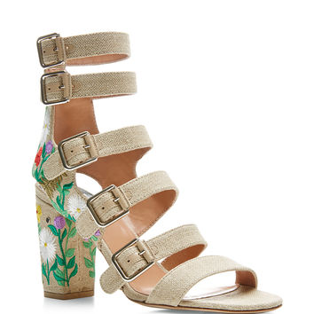 Dana Embroidered Linen Sandals