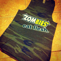 Ladies' Zombies Eat Fresh Funny and Humorous Camo Military Eco Jersey Racerback Tank Top Valentine's Day Gift For Her Walking Dead Fan