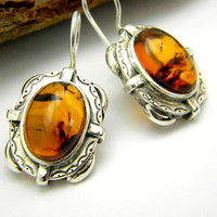 Sterling silver amber earrings - retro rustic style - honey brown oval earrings, dangle earrings, Amber jewelry