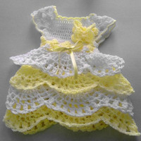 handmade baby dress Baby coming home dress white and yellow  crochet baby dress, yellow infant dress, layered dress, butterfly