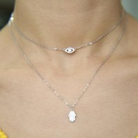 New sexy women jewelry lucky hamsa hand evil eye cham drop silver color paved cz jewelry double layer necklace real 925 silver