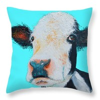 "Black and white cow on blue background Throw Pillow 14"" x 14"""