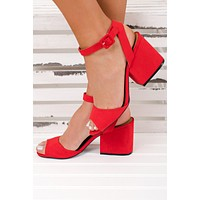 Vintage Forever Strappy Heels (Red)