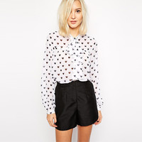 White Heart Print Long Sleeve Chiffon Top with Bow Tie