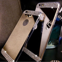 Rhinestone Diamond Mirror TPU Soft Gel Bling Case Cover For Samsung Galaxy S5 S6 S6 Edge Plus Note 4 Note 5 A5 A7 A8 Back Cover