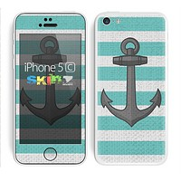 The Trendy Grunge Green Striped With Anchor Skin for the Apple iPhone 5c