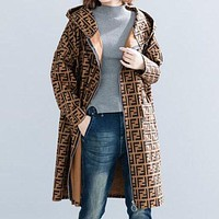 FENDI Autumn And Winter Hot Fashionable Retro Hooded Zipper Women Cardigan Coat Jacket  Windbreaker