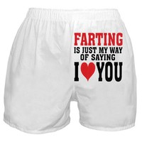 Farting Is My Way Of Saying I Love You Boxer Shorts, White, Medium
