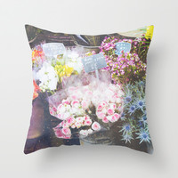 French Flowers Throw Pillow by Pati Designs