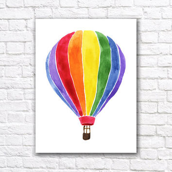 Hot Air Balloon Watercolor Wall Art Print #3 - Nursery Home Decor - Giclee Poster - Watercolour Nursery Painting Art