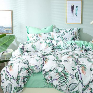 TUTUBIRD white and green leaf print floral bedding set leaves tree bed linen duvet cover adult brief style girls bedspread