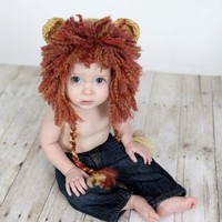 Lion  Beanie Hat Baby Crocheted Unique Photo Prop Select Your Size