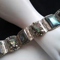 ON SALE Sterling Silver Wide Abalone Shell Bracelet - 1950's High End Aztec Mayan Style - Mexico Mexican 925 Taxco Signed Jewelry