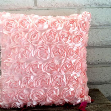 The Elizabeth - 18 X 18 Pillow Cover - Beautiful Pink Satin Ribbon Roses | Luulla