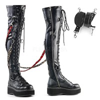 Emily 377 Goth Black Matte Stretch Lace Up Thigh Boot Flat-form  6-12