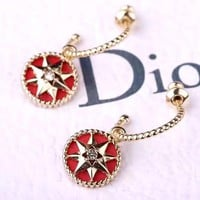 Free shipping-Dior new personality female metal eight-pointed star round earrings earrings