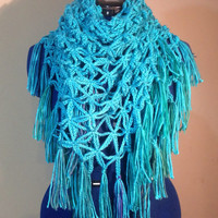 Flower of Life Triangle Scarf Shawl made to order