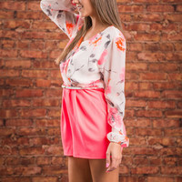 Sunny Story Romper, Neon Pink