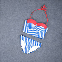 Sexy Striped Swimsuit Swimwear Bathing Suit Bikini Set