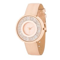 Geneva Rose Gold Stainless Steel and Blush Floating Crystal Watch