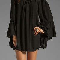 Black Slash Collar Long Sleeve Pleated Dress