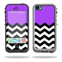 Mightyskins Protective Vinyl Skin Decal Cover for LifeProof iPhone 5C Case fre Case wrap sticker skins Purple Chevron