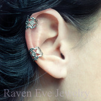 Ear Cuff Gothic Silver Tone Crystal stone accent Earring No Pierce non pierced two piece set