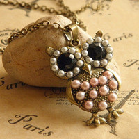 antique bronze owl necklace with charming pearls and crystal eyes necklace