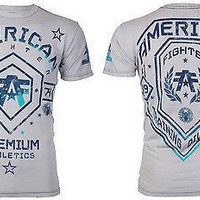 Licensed Official AMERICAN FIGHTER Mens T-Shirt ARKANSAS Athletic GREY BLUE Biker Gym MMA UFC $40