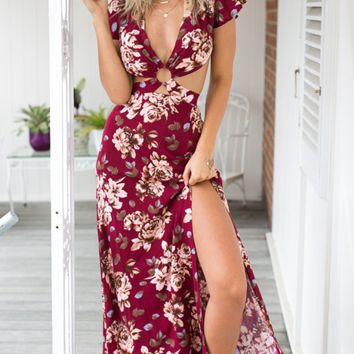 FASHION CUTE RED FLORAL HOT DRESS