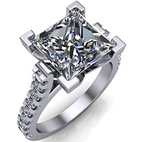 Steele Princess/Square Multi Stone Cathedral Ring