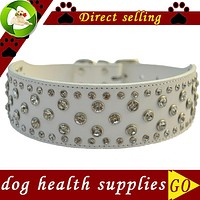 Rhinestone Dog Collar 2 Inch Wide Leather Collar For Big Dogs