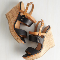 ModCloth Colorblocking Keep Up the Good Cork Wedge in Noir