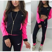N NIKE Popular Women Print Sport Long Sleeve Sweater Pants Sweatpants Set Two-Piece Sportswear Rose Red