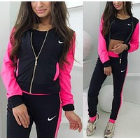 NIKE Popular Women Print Sport Long Sleeve Sweater Pants Sweatpants Set Two-Piece Sportswear Rose Red