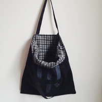 large tote bag minimalist bag black cotton tote hand printed tote eco bag