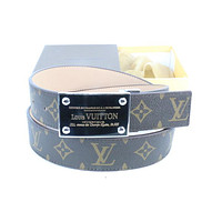 Louis Vuitton Woman Men Fashion Smooth Buckle Belt Leather Belt Skin Belts LV Beltt276
