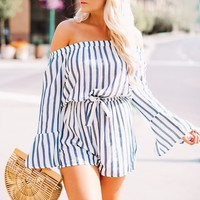 Like A Lady Striped Romper (Navy/White)