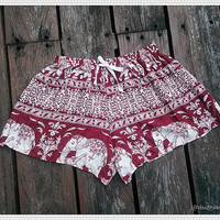 Red Elephant Shorts Printed Beach Summer Art Hippie Hipster Comfy Exotic Boho Clothing Aztec Ethnic Bohemian Ikat Boxers Pants Thai Cloth
