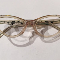 Clear Lucite Pointy Cat Eye Glasses Frames, NOS, Vintage Cateye Glasses Frames, 1950s Cat Eyes Lucite Eyeglasses, Rockabilly Retro Eyewear