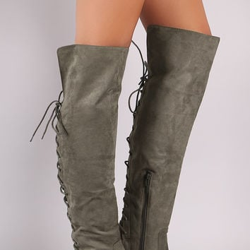 "Suede Back Lace-Up Over-The-Knee Riding Boots Knee High Boots Heel Height: 1.5"" Shaft Length: 22"" (including heel) Top Opening Circumference: 14"" Gray & Taupe & Black"
