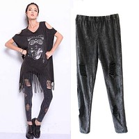 Leggings Women Fitness Punk Rock leggins Pok gothic cal Ripped Sexy legins workout jeggings Women's Clothing Clothes WEAR