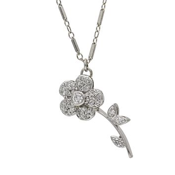 Diamond Flower Pendant on Bar Link Chain in 14k White Gold ( .35 ct tw ) Signed