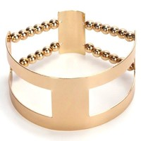 Stretch Gold Arm Cuff Bracelet with Cutout Detail