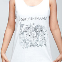 Foster the People T Shirt American Indie Pop Band Women White T-Shirt Vest Tank Top Singlet Sleeveless Size M L