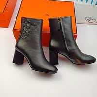 HERMES  Trending Women's men Leather Side Zip Lace-up Ankle Boots Shoes High Boots08180gh