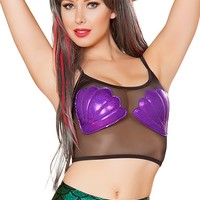 J-Valentine Purple Mermaid Shell mesh crop top
