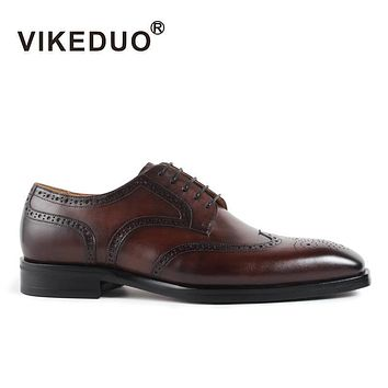 Vikeduo Luxury Brand Manual Brush Color Genuine Leather Men Shoes Classic Brogue Carve Designs Fashion High Grade Man Footwear