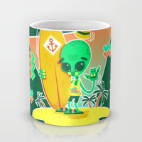 Alien Surfer Nineties Pattern Mug by chobopop